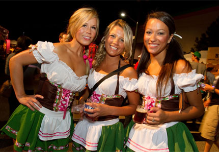 Dirndl dames at the Fremont Oktoberfest in Seattle, Washington