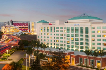 The Hilton Santa Clara in California is steps away from Levi's Staduim