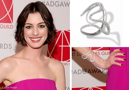 Anne Hathaway shows off her limited edition Antonini Aurea Diamond Cuff at the 19th Art Directors Guild Awards