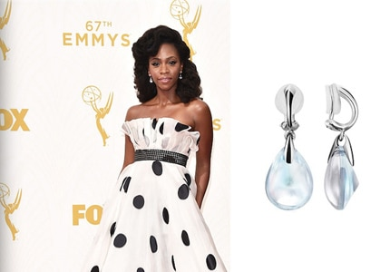 Teyonah Parris wore Baccarat crystal clip-on earrings at the 67th Annual Emmy Awards