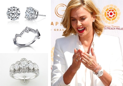 Charlize Theron wore Harry Kotlar and Le Vian diamonds while promoting Ethiad Airways on March 15 in the United Arab Emirates