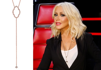 Christina Aguilera wore her Sara Weinstock necklace on Season 8 The Voice: Results Show