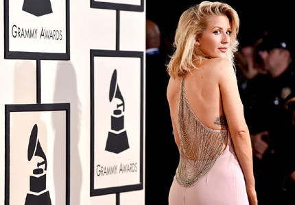 Ellie Goulding looked pretty-in-pink at the 58th Annual Grammy Awards