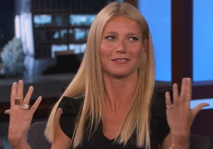 Gwyneth Paltrow wearing Pasquale Bruni and Jack Vartanian rings on Jimmy Kimmel Live