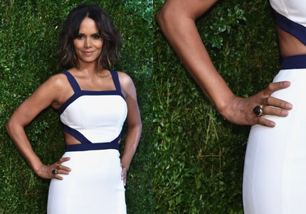 Halle Berry wore a beautiful gemstone Adeler ring at the 2014 Golden Heart Awards event