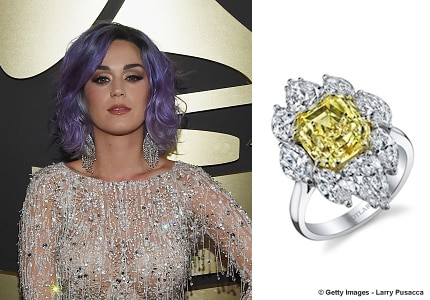 Katy Perry wore Harry Kotlar in attendance to the 57th Annual Grammy Awards at the Staples Center