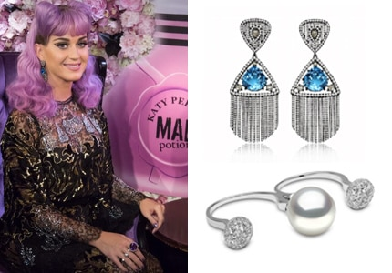 "Katy Perry wore a Yoko London pearl ring and Sutra earrings at the launch party of her perfume, ""Mad Potion"""