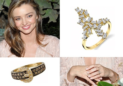 Miranda Kerr wore Borgioni and Le Vian gold rings while attending the ZIMMERMAN Melrose Flagship Store opening in Los Angeles, CA
