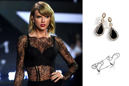 Taylor Swift wore jewelry by Brumani and Casa Reale in her performance at the Victoria's Secret Fashion Show