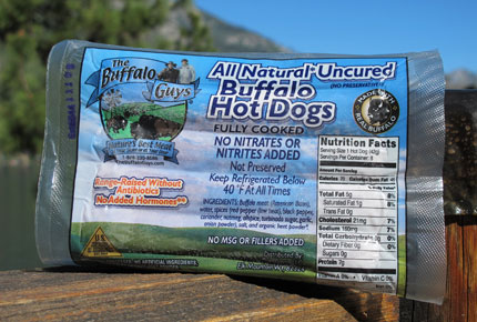 A package of All Natural Uncured Buffalo Hot Dogs from the Buffalo Guys with no added hormones or antibiotics