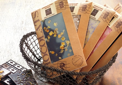 An assortment of Bovetti gourmet chocolate bars are available in a variety of delicious flavors