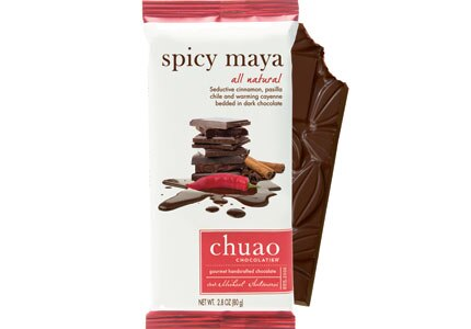 Chuao's Spicy Maya dark chocolate bar contains pasilla chile, cayenne pepper and cinnamon