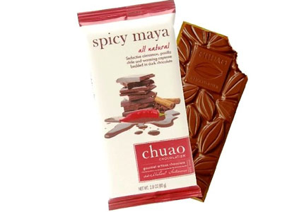 Chuao's Spicy Maya Bar features dark chocolate with cinnamon, cayenne pepper and pisalla chile