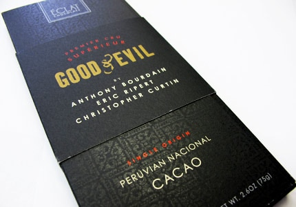 The Good & Evil Bar, made with Peruvian Nacional cacao, was created by renowned culinary figures Eric Ripert and Anthony Bourdain