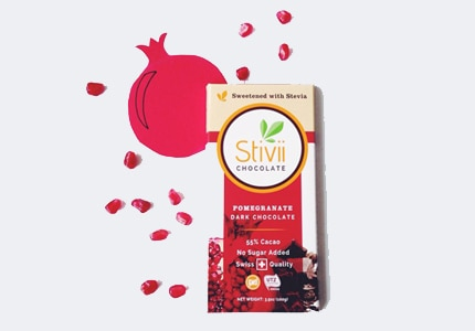 Stivii's naturally sweetened pomegranate dark chocolate made with 55% cacao