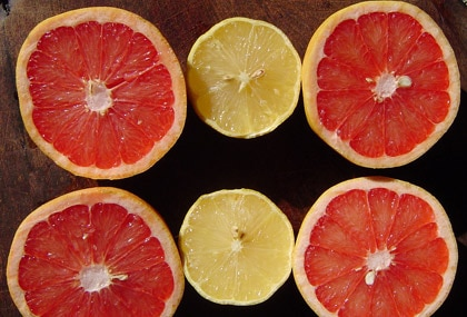 Grapefruit, like all citrus fruits, is high in vitamin C