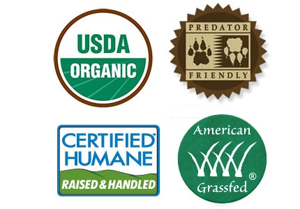 Official meat labels: USDA Organic; Predator Friendly; Certified Humane; American Grassfed