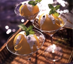 Green Tea Poached Asian Pears with Pistachio Cream Sauce