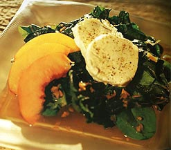 Tea Wilted Greens with Summer Fruit and Goat Cheese
