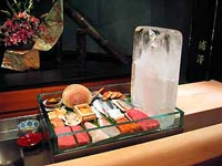 Sashimi being iced at Urasawa in Beverly Hills, CA