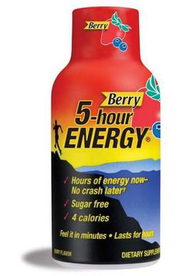 On GAYOT's list of the Top 5 Energy Drinks, 5-hour Energy contains a blend of taurine and B-vitamins