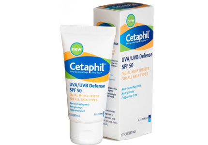 Cetaphil UVA/UVB Defense SPF 50 Facial Moisturizer, one of GAYOT's Top 10 Sunscreens