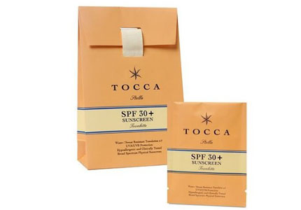 Tocca Sunscreen Towelettes are scented with Stella, the brand's evocative blood orange fragrance