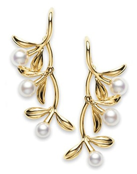 The Mikimoto Olive Earrings feature Akoya cultured pearls set in 18k yellow gold