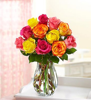 One of GAYOT's Top 10 Mother's Day Gifts, one dozen multicolored roses from 1-800-FLOWERS
