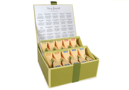 One of GAYOT's Top 10 Mother's Day Gifts, the Tea Forté Tea Chest Collection contains 40 silk pyramid infusers in twenty different gourmet varieties