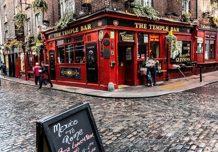 Temple Bar is a famous pub in Dublin, Ireland