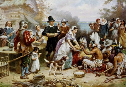 An artist's rendering of the First Thanksgiving at Plymouth