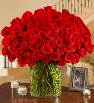 100 Red Roses in a Vase from 1-800-FLOWERS