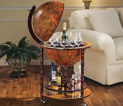 One of GAYOT's Top 10 Romantic Gifts, this dashing globe bar from Design Toscano has ample room for glassware and bottles