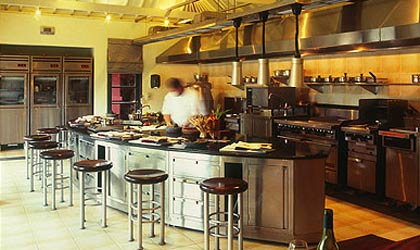 A cooking area at the Cooking School at the Four Seasons Resort Bali at Jimbaran Bay in Indonesia