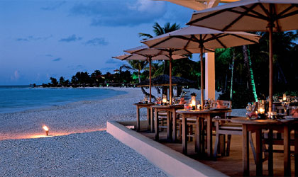 The Verandah restaurant at Jumby Bay, A Rosewood Resort in the West Indies