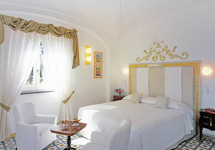 A guest room at Hotel Santa Caterina on the Amalfi Coast in Italy