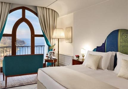 A guest room at Palazzo Avino on the Amalfi Coast in Italy