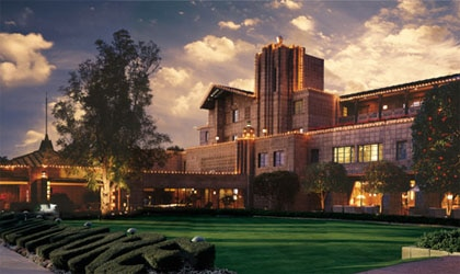 The front of the Arizona Biltmore, A Waldorf Astoria Resort in the evening
