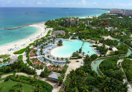 The Atlantis Resort on Paradise Island in the Bahamas has seven acres of lagoons and pools