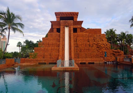 The Leap of Faith water slide at Atlantis Resort Paradise Island is designed after an ancient Mayan temple