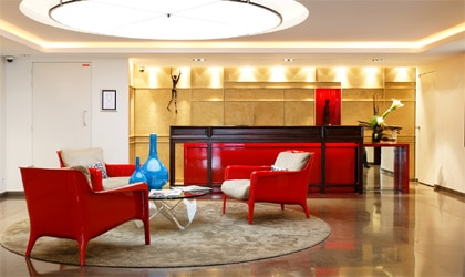 The chic lobby of Hotel Beauchamps in Paris, France