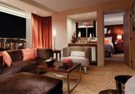 A corner suite at Aria Resort & Casino, one of GAYOT's Top 10 Hotels in Las Vegas