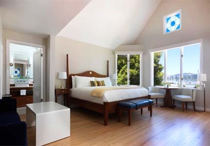 A guest room at Casa Madrona Hotel & Spa in Sausalito, CA