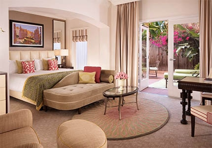 A guest room at The Beverly Hills Hotel in Los Angeles, CA