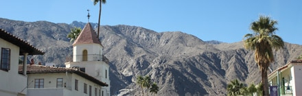 A view of the mountains from downtown Palm Springs