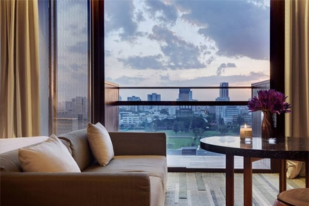 The view from a guest room at Hansar Bangkok, one of GAYOT's Top 10 Boutique Hotels Worldwide