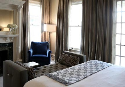 A guest room at Hotel Ella in Austin, Texas