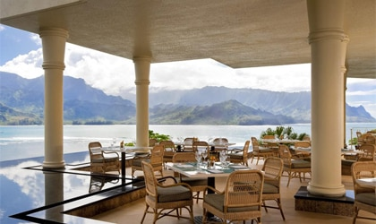 The Makana Terrace at the St. Regis Princeville Resort in Kauai