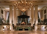 The grand lobby of the Waldorf=Astoria hotel in New York